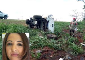Mulher de empresário de Coxim perde controle de caminhonete, capota e morre na BR-163