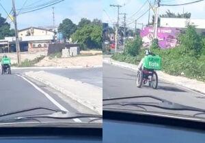 VÍDEO: cadeirante entrega comidas com cadeira de rodas motorizada