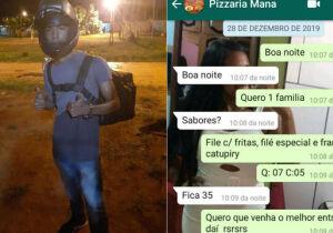 Mãe faz pedidos de pizza para apoiar filho entregador no emprego