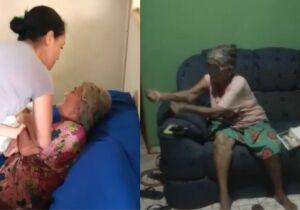 Idosa nega agressões da nora após ser questionada em vídeo pelo filho