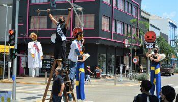 CUT realiza manifesto contra reforma administrativa de Bolsonaro no centro de Campo Grande