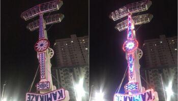 Credo em cruz! Kamikaze trava no ar e deixa pessoas de cabeça pra baixo a 18 metros de altura