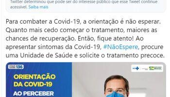 Twitter marca post do Ministério da Saúde como 'informação enganosa'