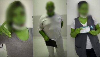 Vacinados, funcionários da saúde usam filtro de jacaré e são advertidos em SP