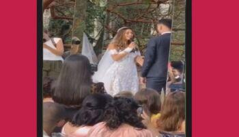 Cantora gospel se casa com jogador do Flamengo em cerimônia com aglomeração