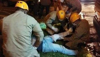 Motociclista invade preferencial e fica ferido em Dourados
