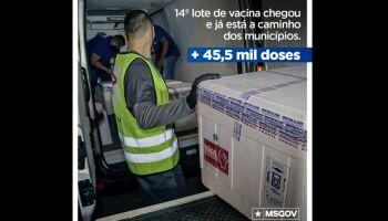 Bolsonaro comemora envio de 45,5 mil doses de vacinas a MS