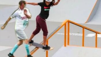Senador posta meme de Bolsonaro andando de skate ao lado da 'Fadinha Rayssa'