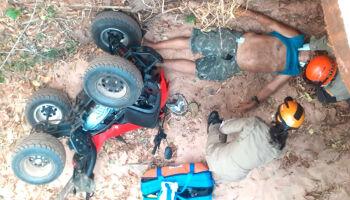 Piloto de quadriciclo cai de ponte de dois metros em Piraputanga