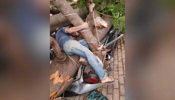 Tempestade derruba árvore em cima de veículo e deixa feridos em Campo Grande