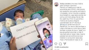 Após dez dias em coma, mãe com Covid-19 conhece o filho por vídeo