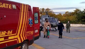 Criança é socorrida por helicóptero da Marinha com fratura e levada para Corumbá