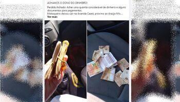 Casal encontra R$ 2,4 mil na rua, faz campanha e encontra o 'dono': 'era um motoboy'