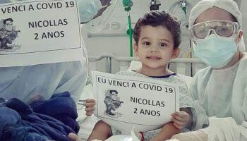 Menino de 2 anos se recupera da covid-19 depois de 13 dias internado