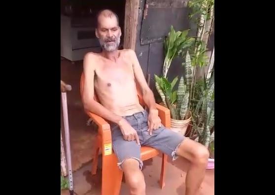 Vídeo: doente e sem auxílio, seu Luiz Claudio pede socorro para não passar fome na Portelinha