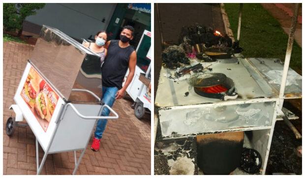 De carrinho novo após incêndio, José e Kamila agradecem solidariedade e planejam volta do hot dog