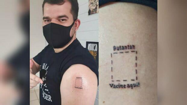 Estudante faz tatuagem para incentivar vacinação contra covid-19