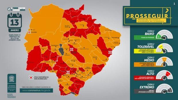Prosseguir: 34 municípios estão na bandeira vermelha e nenhuma cidade com baixo risco em MS
