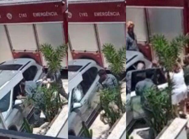 Heróis: bombeiros quebram vidro para resgatar bebê preso em carro blindado