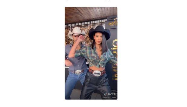 Vídeo: Mariano e namorada tentam emplacar vídeo com 'hit do agroboy' no TikTok