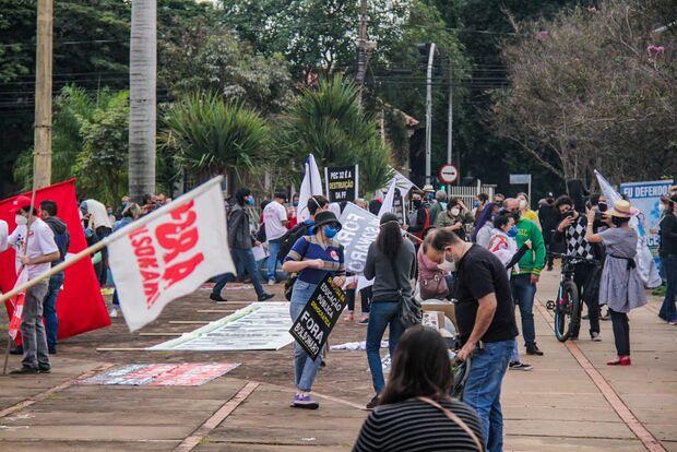 'Psicopata, negacionista e delinquente': Campo Grande tem protesto contra Bolsonaro