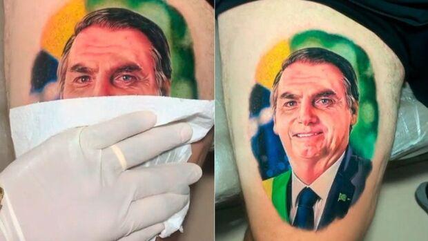 Fã tatua rosto de Jair Bolsonaro na coxa