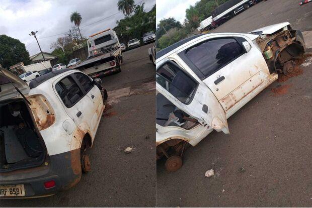 Ademir tem carro depenado por ladrões e amigos fazem rifa para consertar veículo