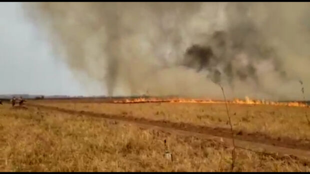 Vídeo: redemoinho de fogo assusta e dificulta trabalho dos Bombeiros no Pantanal