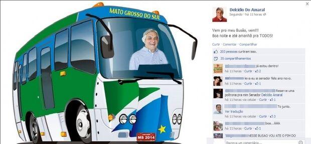 Delcídio convoca a população para seu ´ônibus´ no Facebook