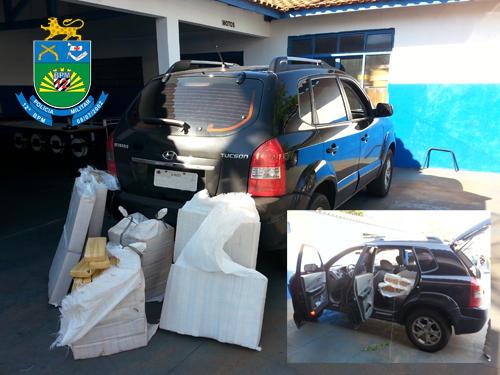 PM de Naviraí apreende Hyundai com 258 quilos de maconha
