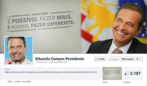 TSE determina retirada de página sobre Eduardo Campos no Facebook