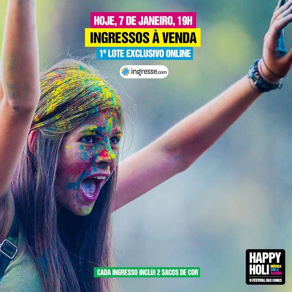 Ingressos para festival Happy Holi começam a ser vendidos hoje
