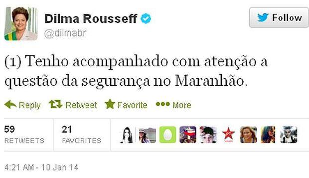 Dilma usa Twitter para falar pela primeira vez sobre crise no MA