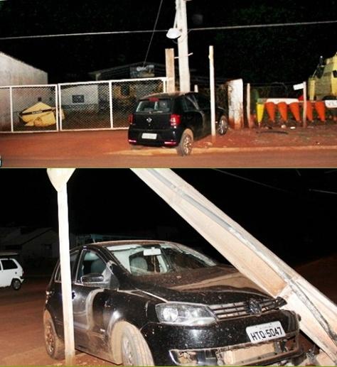 Veículo colide em poste de sustentação da rede de energia elétrica na Rua Ponta Porã