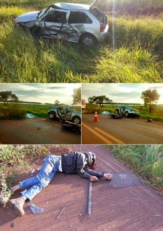 Acidente grave na BR 060 envolve carro roubado, moto e família