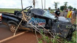 Montana que transportava chopp fica destruída após acidente na MS-376