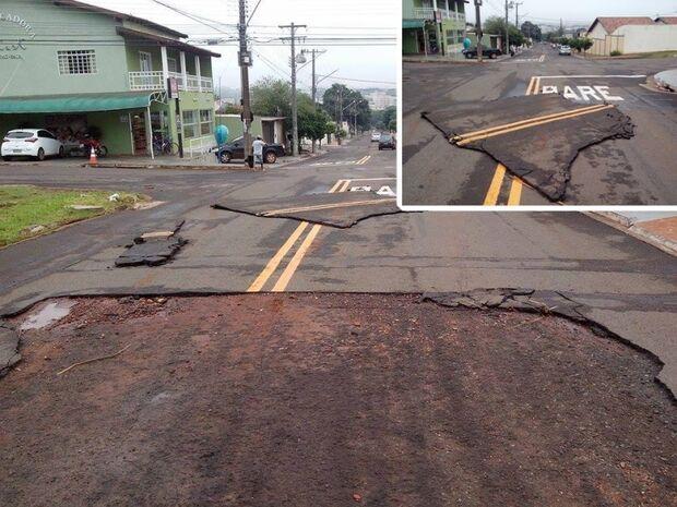 Chuva levanta asfalto em Campo Grande