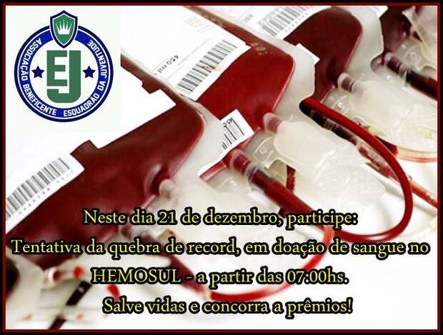 Jovens tentam bater recorde de doação de sangue no Hemosul