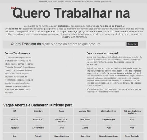 """Site """"Trabalhar na"""" oferece links para acessar o cadastro de currículo de várias empresas"""