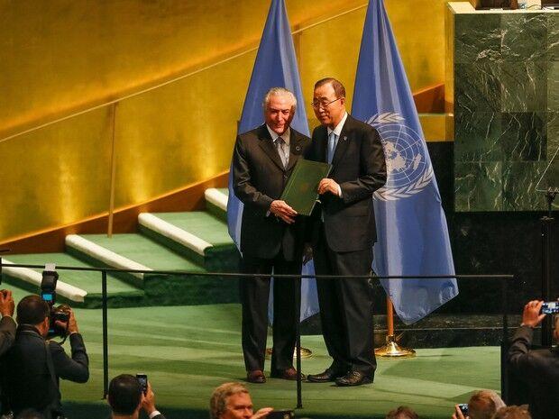 Temer entrega ratificação do acordo do clima de Paris na ONU
