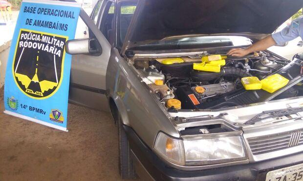 PRE apreende 33 quilos de maconha escondidos em motor de carro na MS-156