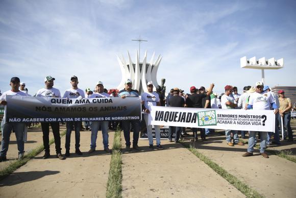 Seis mil pessoas protestam em Brasília contra proibição de vaquejadas