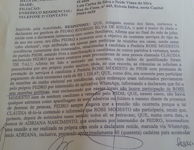 'Quem chegou foi Marquinhos', afirma à policia mãe de falso coordenador de Rose