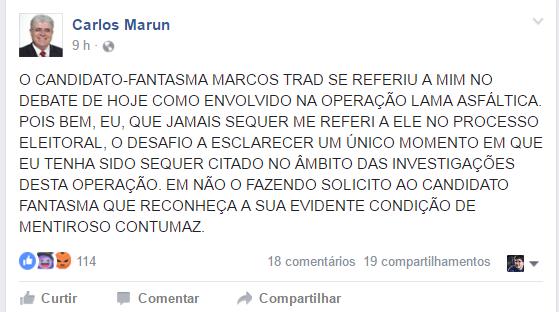 Marun desafia Marquinhos: 'candidato fantasma' e 'mentiroso costumaz'