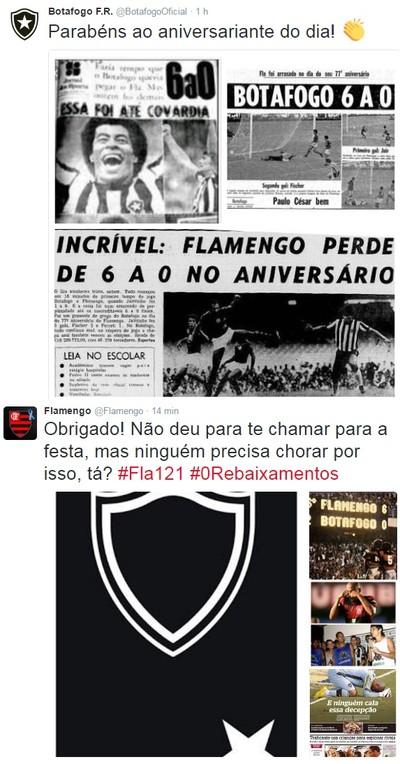 """Bota provoca Fla com """"homenagem"""" no dia do aniversário, e rival responde"""
