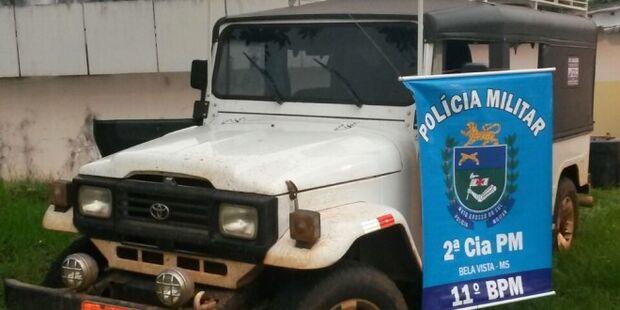 PM flagra jipe carregado com 415 quilos de maconha na fronteira com o Paraguai