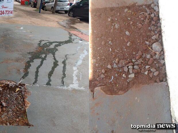 Após denúncia de descaso, vazamento de água é consertado e calçada será reconstruída na Capital