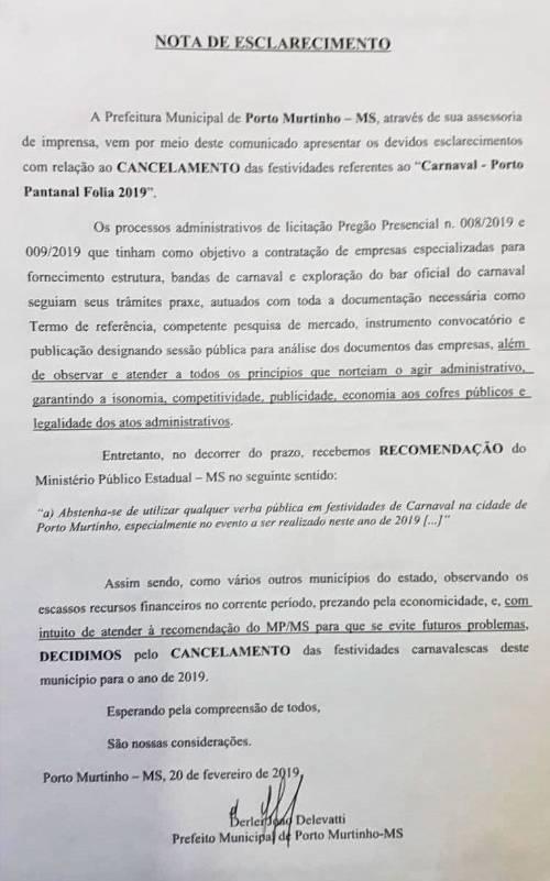 Prefeitura de Porto Murtinho cancela Carnaval