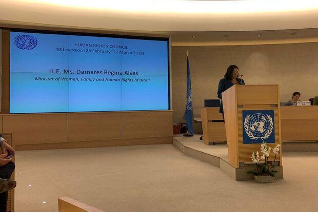 Na ONU, Damares pede esforço conjunto contra violações na Venezuela