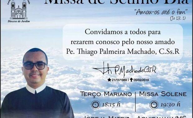 Missa de 7° dia do Padre Thiago Machado será celebrada nesta segunda-feira